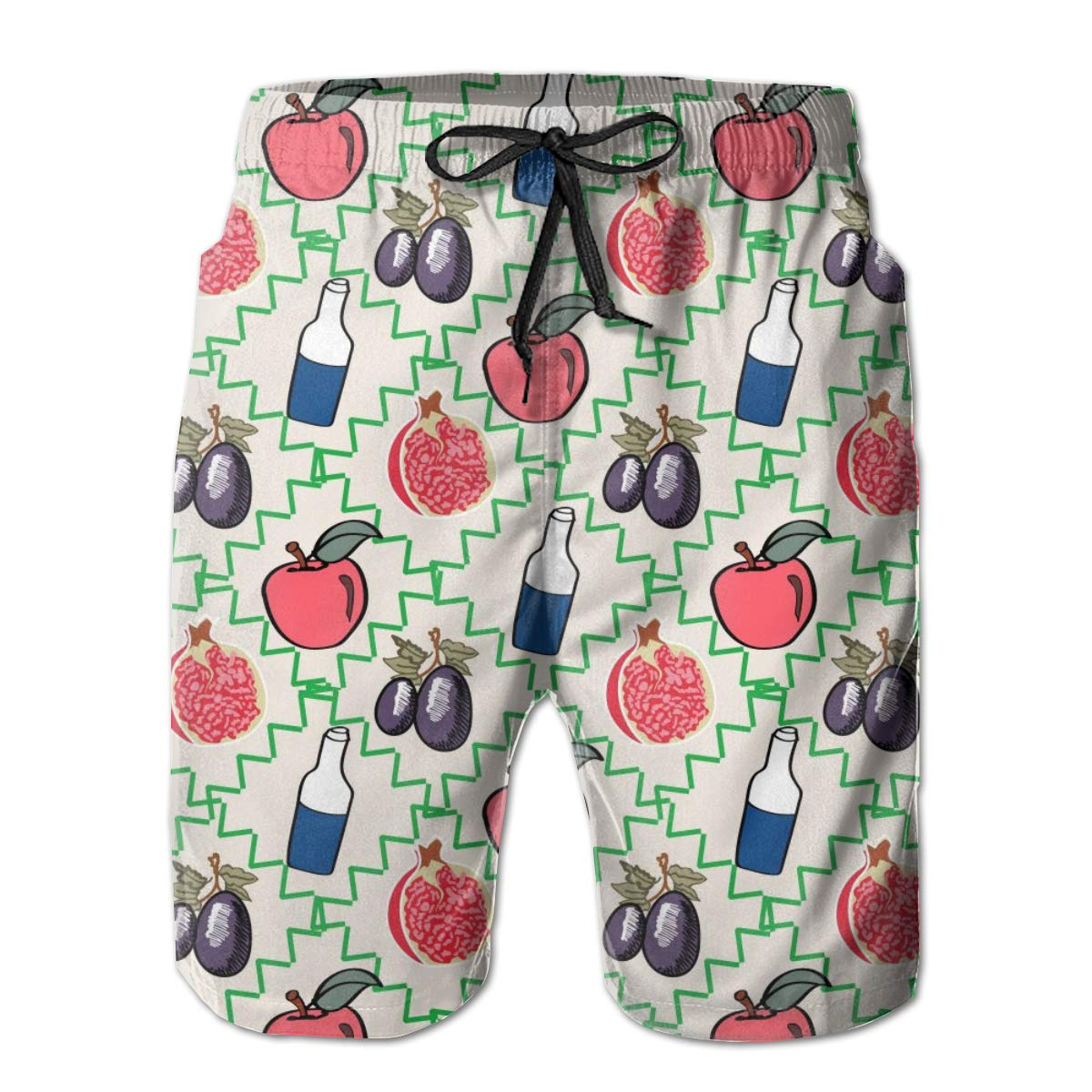 FASUWAVE Mens Swim Trunks Fruit and Drink Quick Dry Beach Board Shorts with Mesh Lining