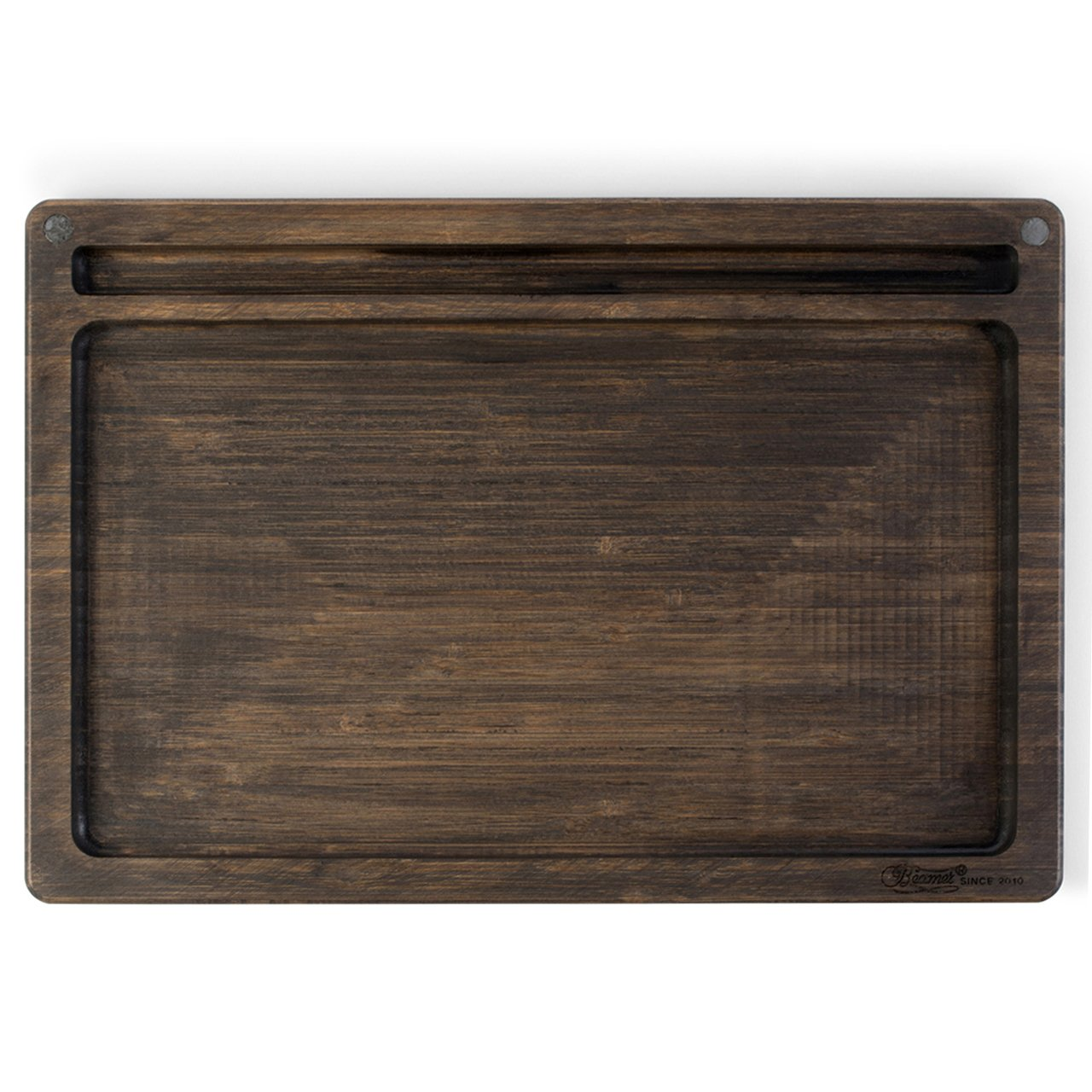 Beamer Ace All-Natural Bamboo Rolling Tray - Dark Finish - 14 X 9.5 inch