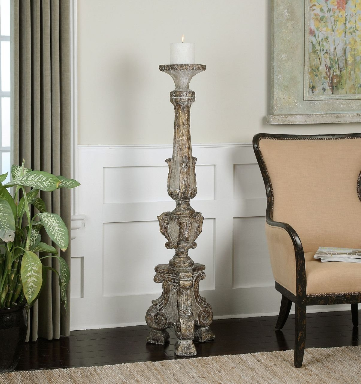 Amazon com oversize 57 floor candle holder old world tall distressed home kitchen