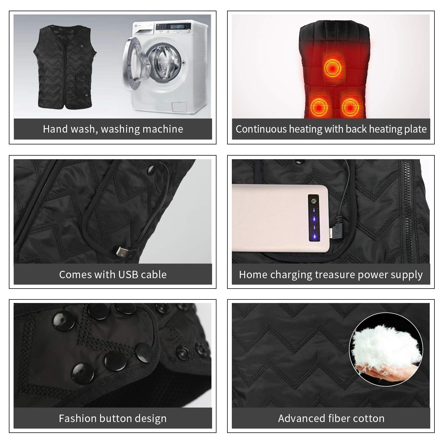 Heating Electric Vest USB Charging Heated Vest Cold-Proof Heating Clothes Washable Four Sizes Adjustment No Battery Pack Included Black by YZFDBSX (Image #6)
