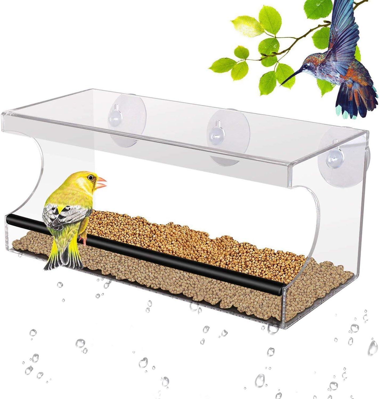PEDY - Comedero Grande para pájaros con 3 ventosas y Bandeja extraíble, acrílico Transparente