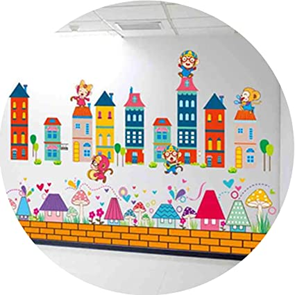 Amazon com: Monkeys Castle Wall Stickers Vinyl DIY Mushroom Houses
