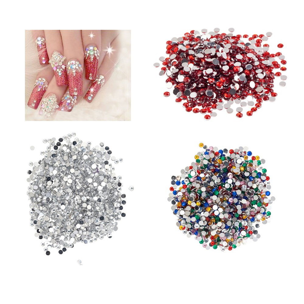 Amazing Value Set of 4320 Best Quality Round Flat Back 3mm Rhinestones / Crystals / Gemstones / Professional 3D Nail Art Decorations In Different Colours By VAGA