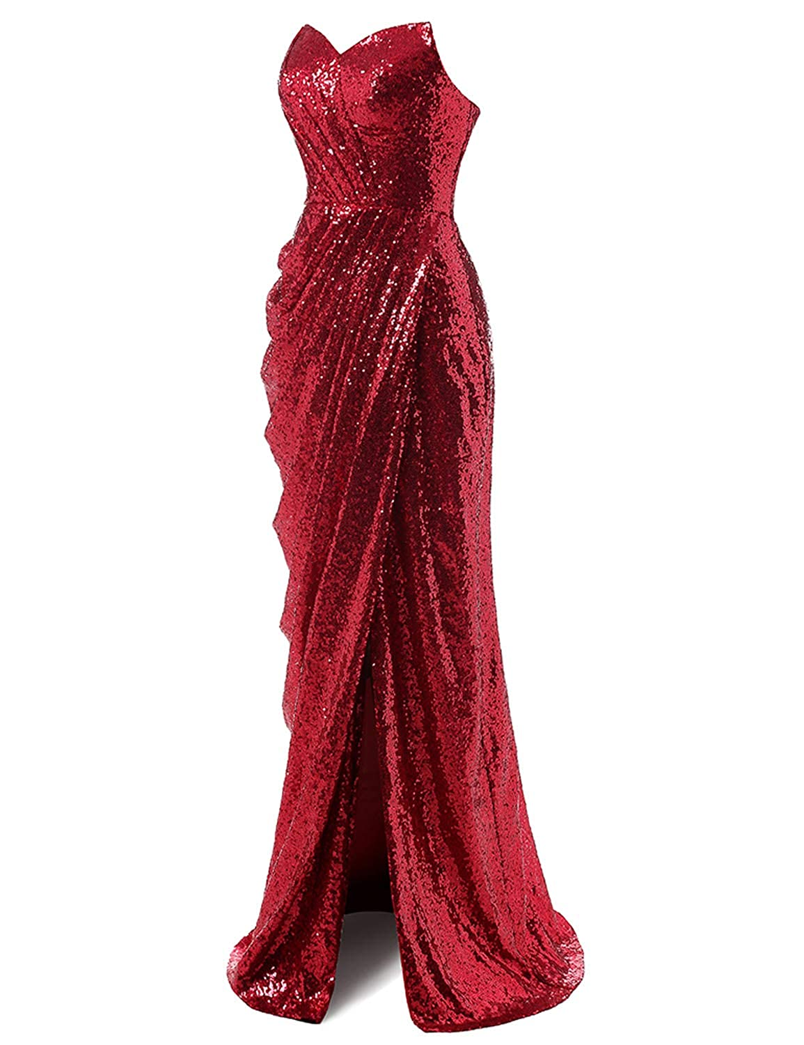 Light Burgundy CIRCLEWLD Sweetheart Ruched Sequin Gown with Side Slit Long Prom Evening Dresses Bridesmaid Dress E195