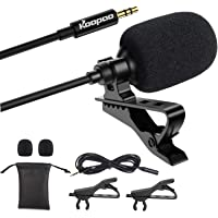 3.5mm Lapel Microphone, KOOPAO Omnidirectional Condenser Lavalier Mic with Clip for Apple iPhone Android Windows…