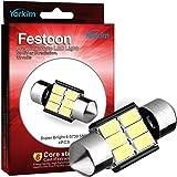 """Yorkim 4x 31mm (1.25"""") 6-smd 5730 Dc 12v Super Bright Festoon White LED Bulbs, Fit for 3157 LED, De3157 Bulb, De3175 Super White Bulb (Pack of 4)"""