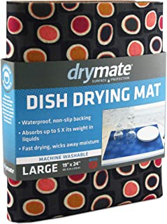 """product image for Drymate Dish Drying Mat, Premium XL Size (19"""" x 24""""), Kitchen Dish Drying Pad – Absorbent/Waterproof – Machine Washable (Made in the USA) (Didjeridu 12)"""