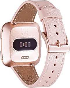 WFEAGL For Versa Band, Top Grain Leather Band Replacement Strap for Versa /Versa 2 /Versa Lite /Versa SE Fitness Smart Watch(Pink Band+Rose Gold Buckle)