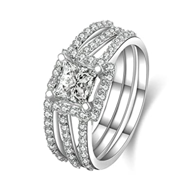033ce9ddd68d1 Amazon.com: Aooaz Jewelry Wedding Ring Silver Material 3 Row Square ...