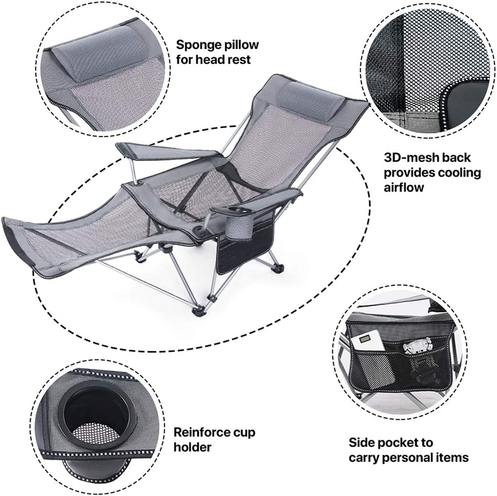 Hhusali Folding Camping Chair Portable Lounge Mesh Chair with Removabel Footrest for Camping Fishing Beach and Picnics