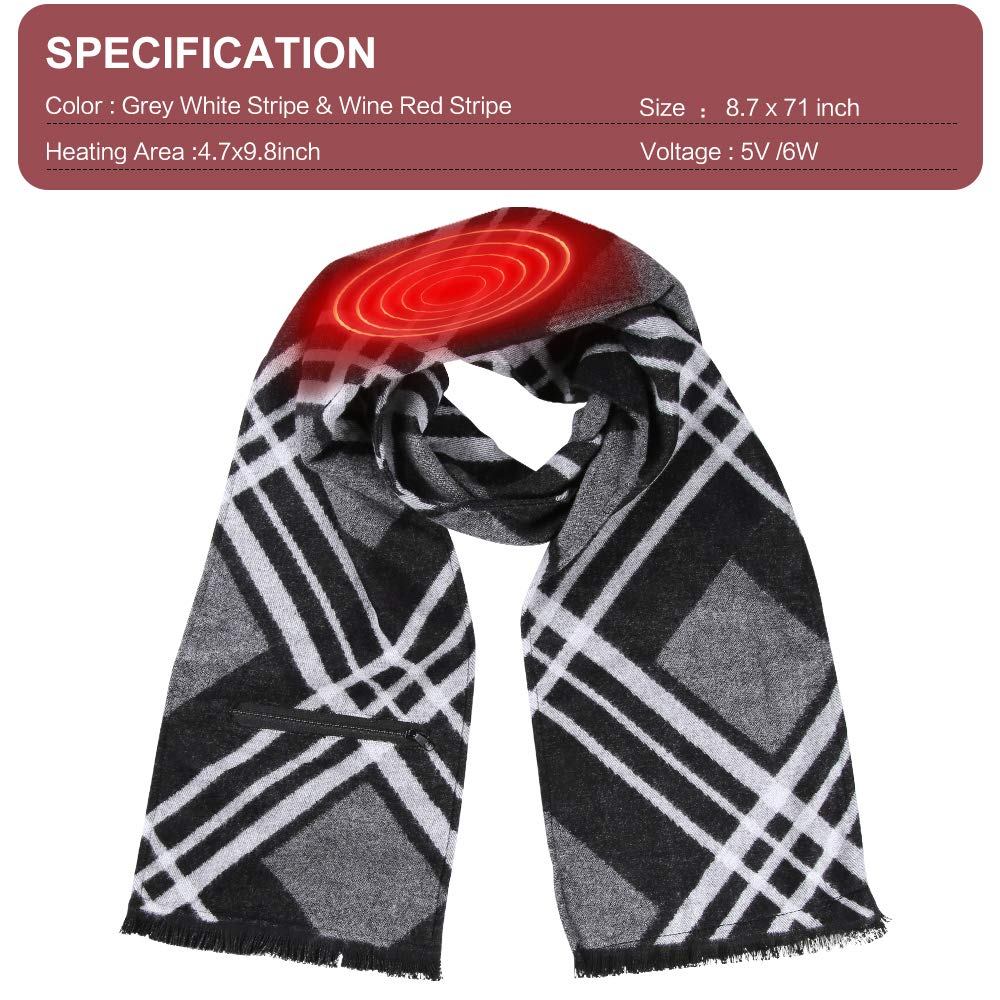 Heated Scarf,Edobil USB Rechargeable Cashmere Winter Heated Scarf for Adult