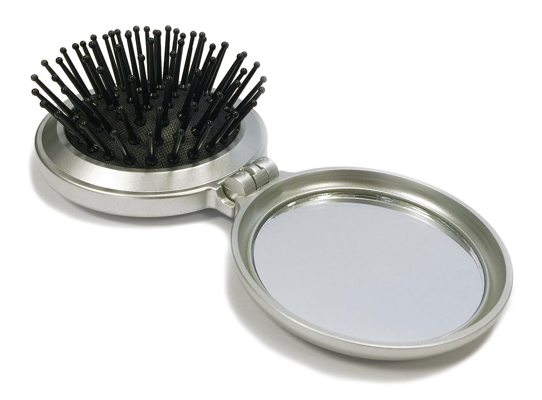 Mini brosse cheveux pliante avec miroir de poche argent toutoffrir