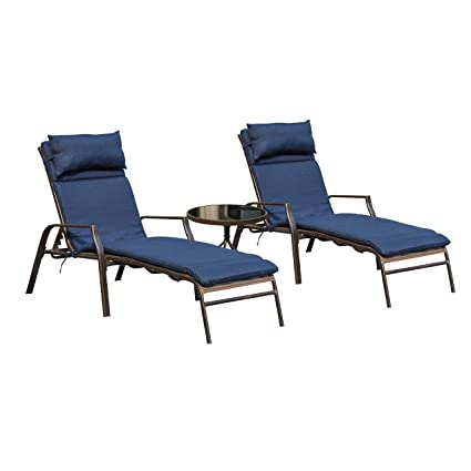 Excellent Lokatse Home 3 Pieces Outdoor Patio Chaise Lounges Chairs Set Adjustable With Folding Table Dark Blue Cushions Unemploymentrelief Wooden Chair Designs For Living Room Unemploymentrelieforg