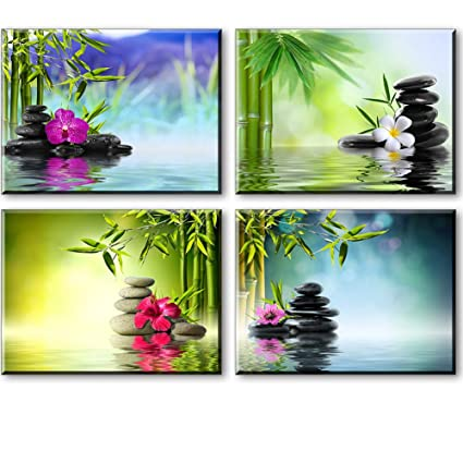 Zen Wall Art, Spa Bamboo Paintings On Canvas For Bathroom, Massage Orchid  Flowers And