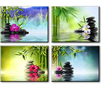 zen wall art spa bamboo paintings on canvas for bathroom massage orchid flowers and