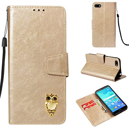 Amazon com: MGVV [Huawei Y5 2018] Wallet Case, Retro Book Style 3D