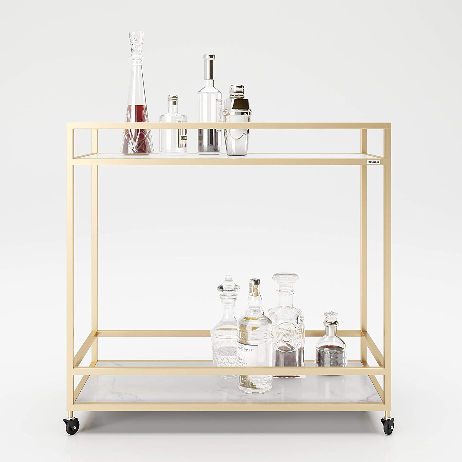 90 x 87 x 40 cm PLAYBOY 634201MB Trolley in Gold//Mamoroptik with 2 Shelves Marble