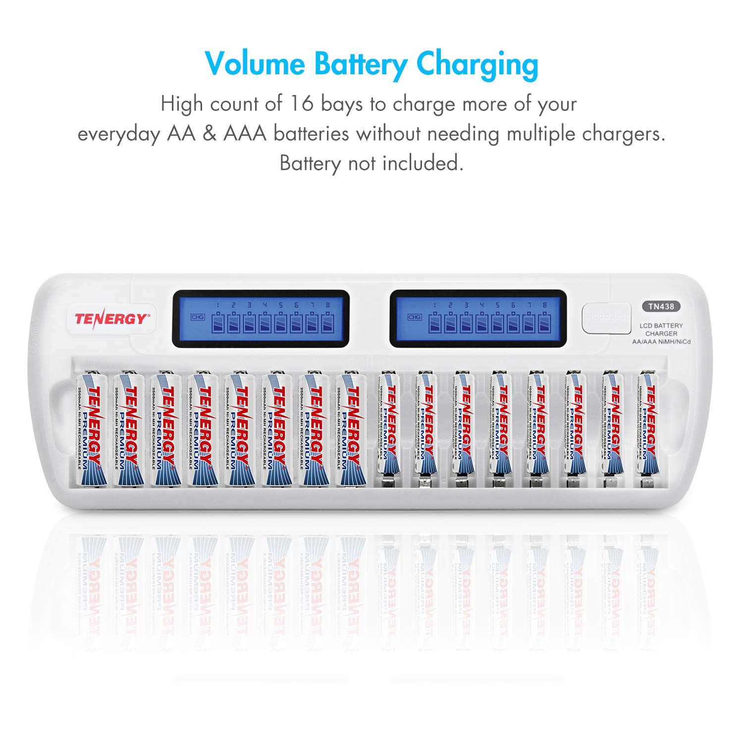 Tenergy Tn438 16 Bay Smart Charger With Lcd And Built In How To Make A Nimh Nicd Battery Circuit Homemade Ic Protection Aa Aaa Rechargeable Batteries Ac Wall Adapter