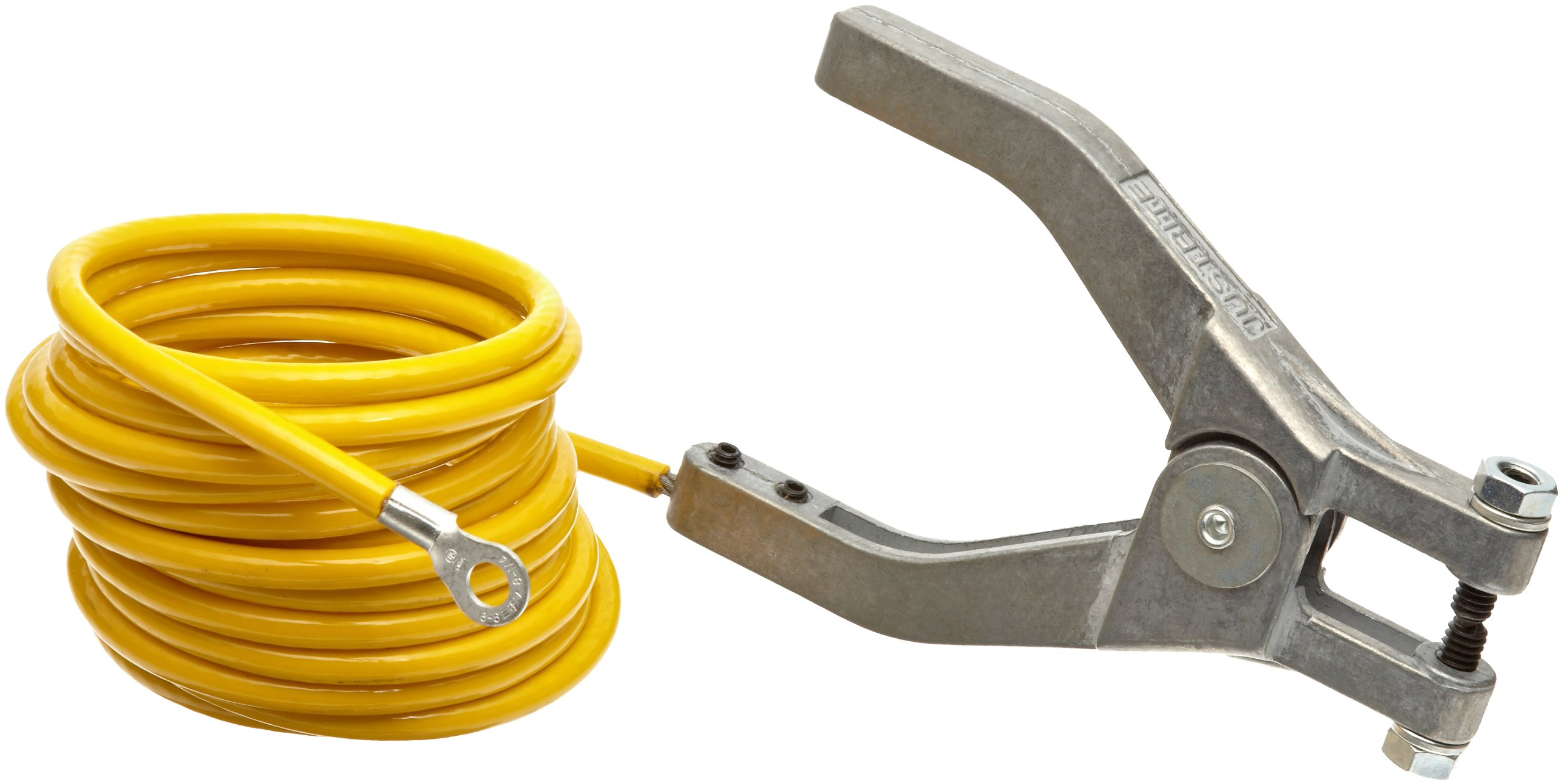 Justrite 08497 10' Long Insulated Grounding Wire With Hand Clamp And 1-4'' Terminal