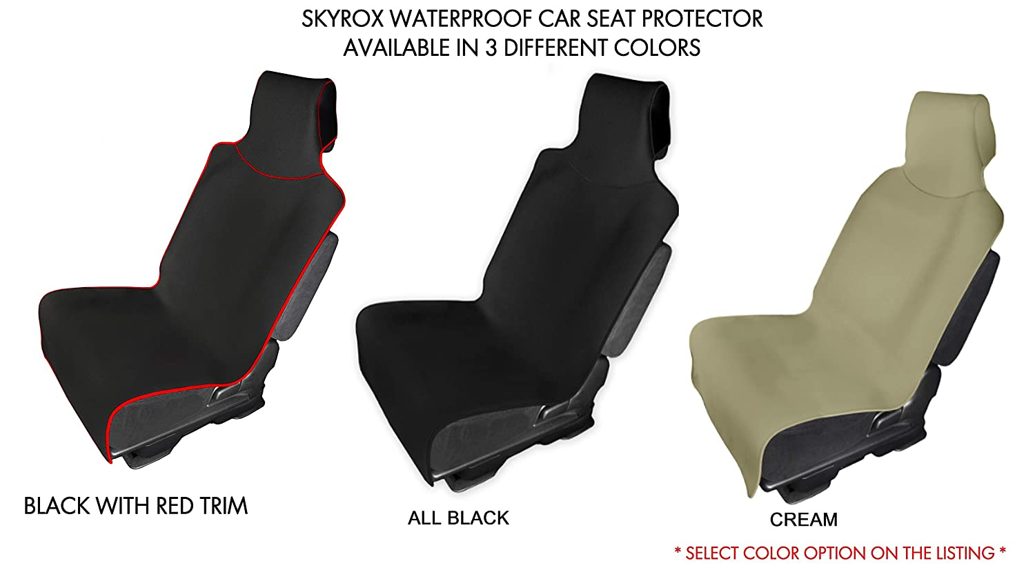 Best for Beach Protects Your Seat from Sweat Truck Running Yoga Waterproof Car Seat Cover Dirt SkyRox Gym Sweatproof Seat Protector for Car Non-Slip Neoprene Seat Cover SUV BIack Stain