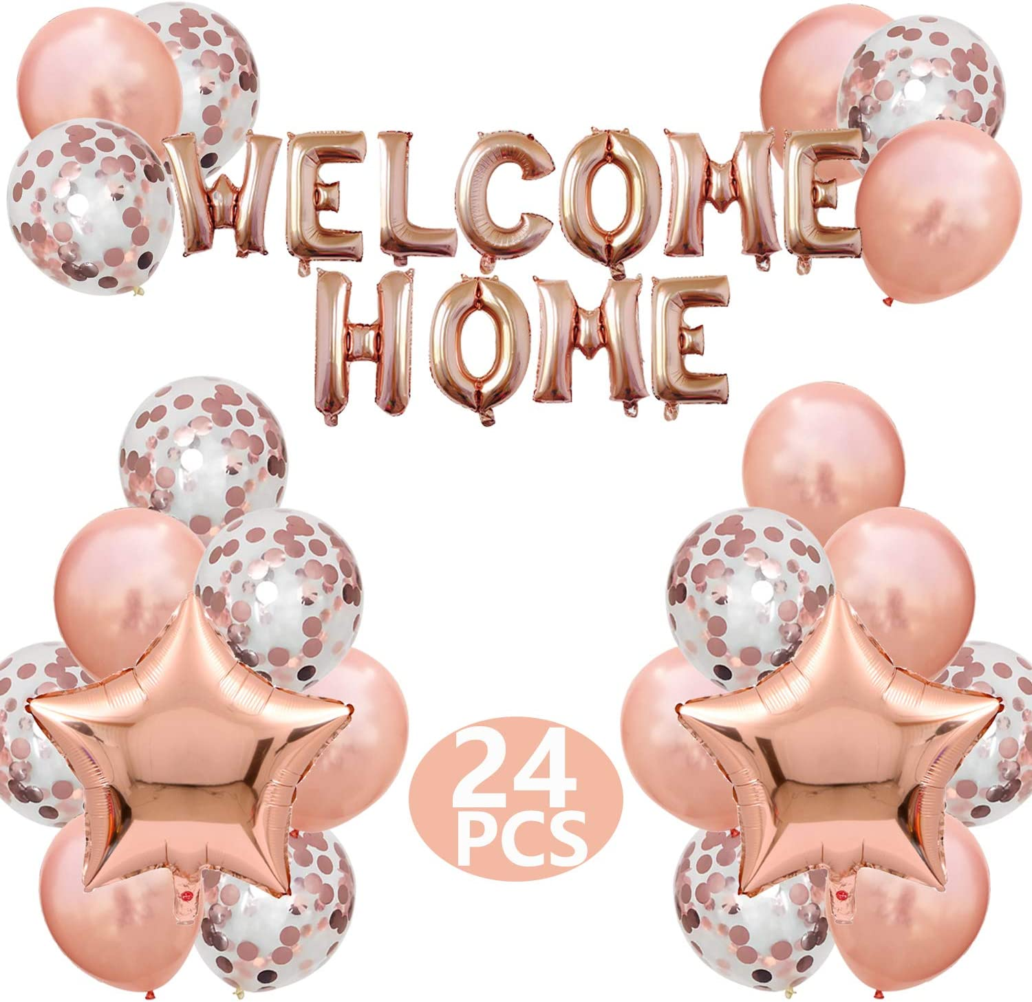 JumDaQ Welcome Home Letter Balloon Banner with Star Sequin Balloons for Home Family Party Decorations(24 Pack) (Gold rose)