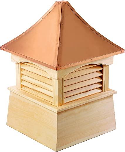 """Good Directions Coventry Louvered Cupola with Pure Copper Roof, Cypress Wood, 18"""" x 24"""", Quick Ship, Reinforced Rafters and Louvers, Cupolas"""