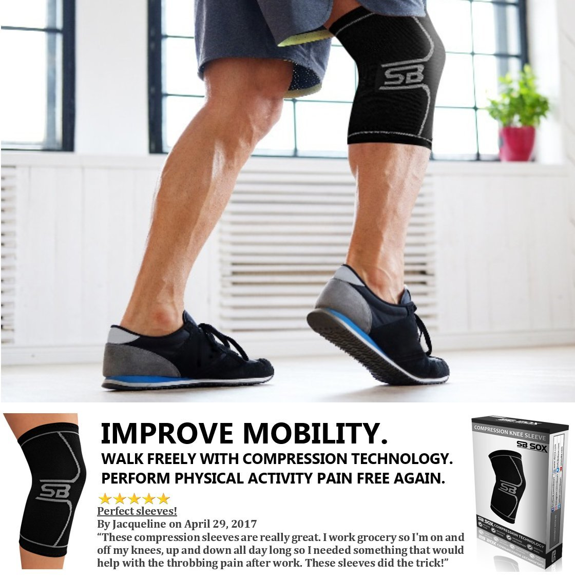Amazon sb sox compression knee brace for knee pain braces and amazon sb sox compression knee brace for knee pain braces and supports knee for pain relief meniscus tear arthritis injury running joint pain solutioingenieria Choice Image