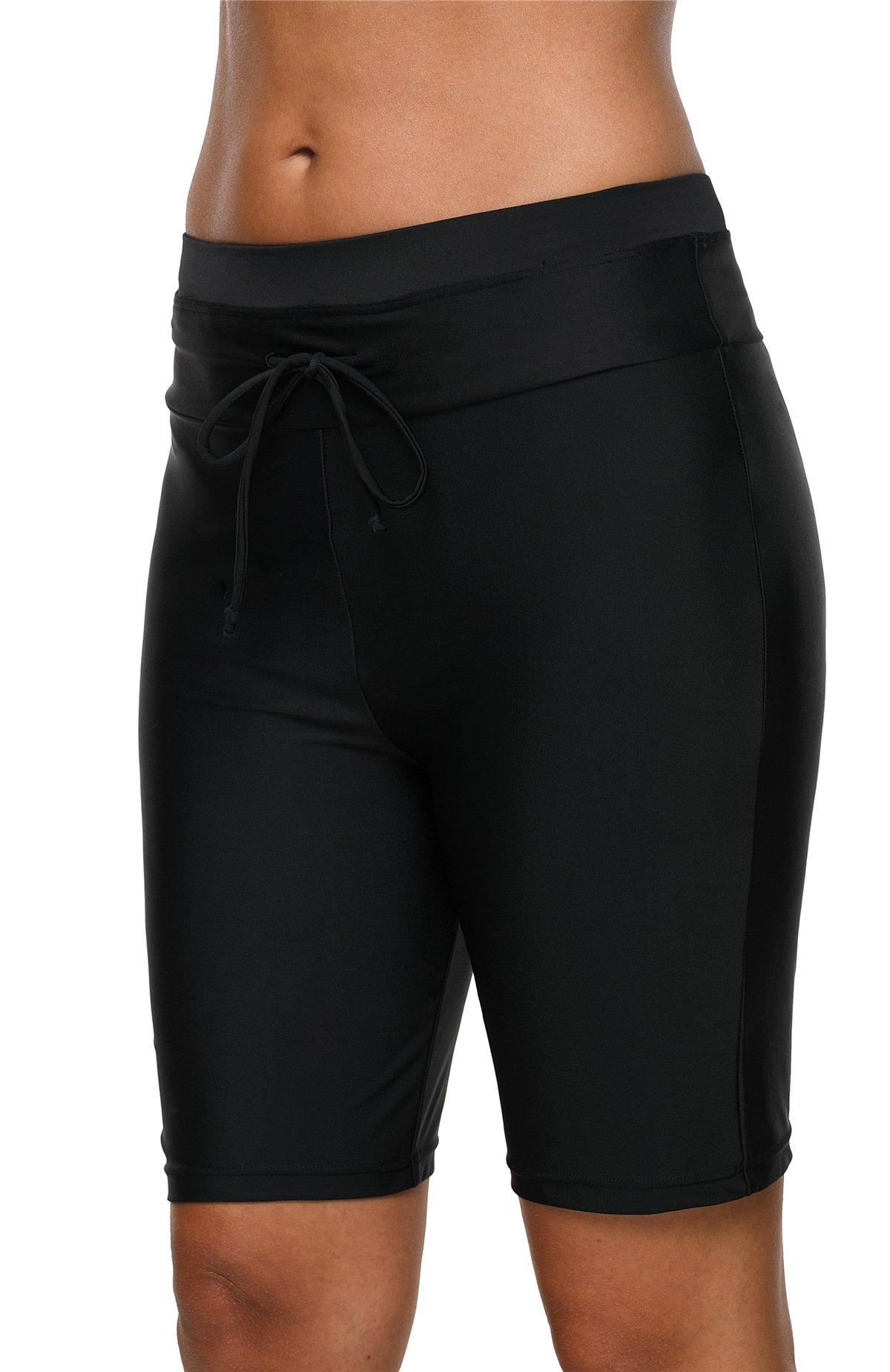 beautyin Women Waistband Tankini Swim Shorts Solid Boardshort Swimsuit Bottom XL