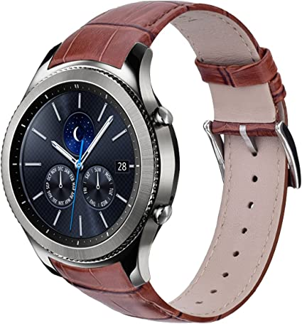 V-MORO Leather Band Compatible with Galaxy Watch 46mm Bands/Gear S3 Band Genuine Leather Crocodile Pattern Replacement for Samsung Gear S3 Classic / ...