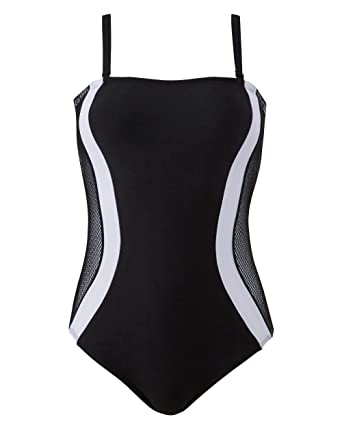 2dc2636111845 Simply Be Womens Magisculpt- The Flawless Swimsuit Black White