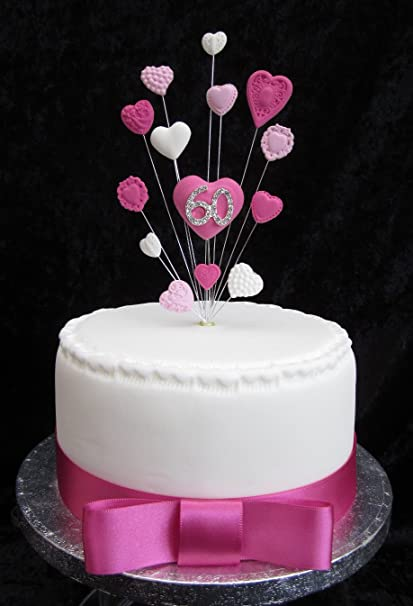 60th Birthday Cake Topper Pinks And White Hearts Suitable For A Small Or Cupcake Amazoncouk Kitchen Home