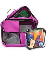 Cubi per bagagli con maniglia per fare i bagagli con facilità più astuccio da toilette 20x20x10 idonea per bagaglio a mano (rosa)