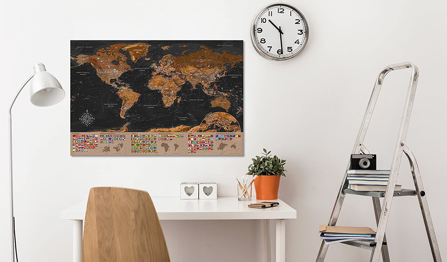 murando World map with pinboard 120x80 cm 1 Piece Print on Canvas Beaverboard Canvas Practical pinboard to Pinching Your Notes World map k-A-0206-v-a