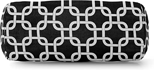 Majestic Home Goods Black Links Indoor / Outdoor Round Bolster Pillow 18.5″ L x 8″ W x 8″ H - a good cheap outdoor pillow