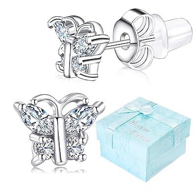 e5aed1d59 Buyless Fashion Girls Butterfly Birthstone Stud Earrings Cubic Zirconia  Jewelry - E124BBAPR