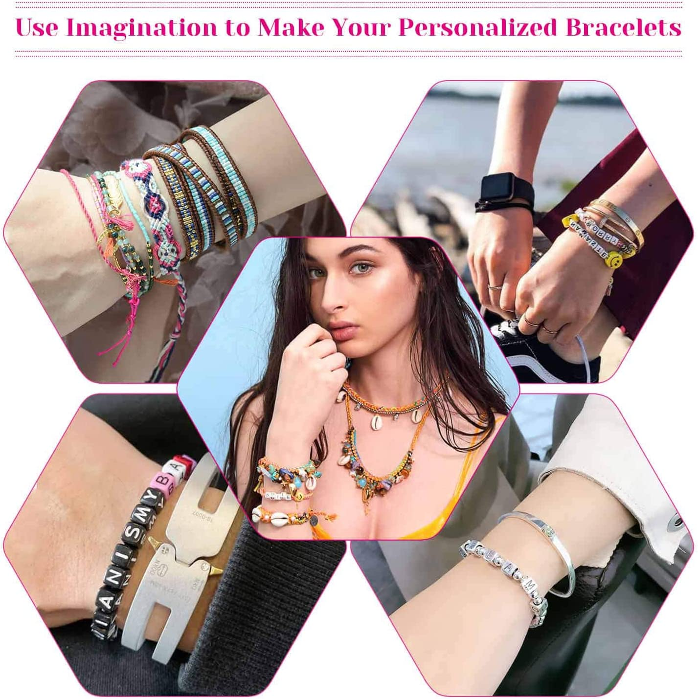 Paxcoo Bead Bracelet Making kit with 50 Colors Friendship Bracelet String Bracelet Letter Beads and Charms for Friendship Bracelets and Jewelry Making