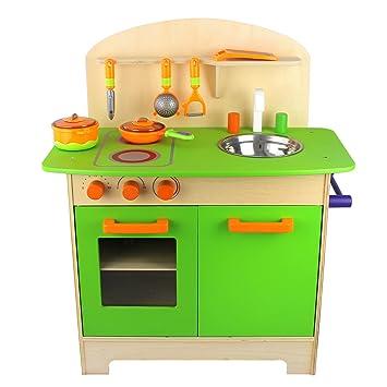 Beau 10tlg Holzküche Kinder Küche Aus Holz Spielzeugküche Kinderküche  Holzspielzeug Inkl. Kochgeschirr Topf Und Pfanne Inkl