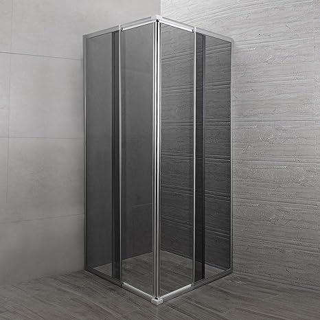 Cabina de ducha ajustable reversible 74 x 78 cm cristal 6 mm ahumado angular: Amazon.es: Bricolaje y herramientas