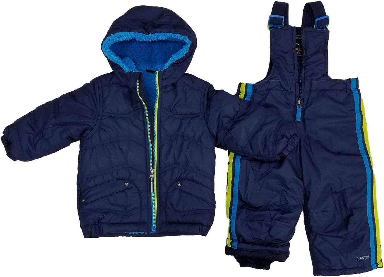 Infant Boys 2-Piece Navy Sherpa Coat /& Snow Bibs Snowsuit Set