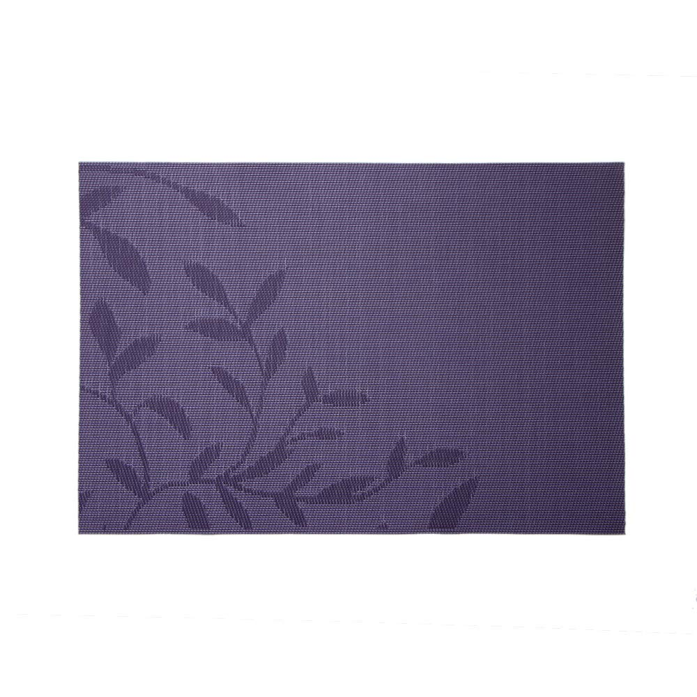 LiPing 18×12''Bamboo Leaves Placemat Woven Non-slip PVC Non Slip Absorbent Eco-Friendly Protects Furniture from Water Stains & Damages Thermal Insulation (Purple)