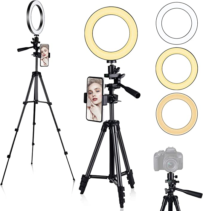 "Anillo de Luz, [Nueva Versión] Diyife 6.3"" Tripode Luz Movil Aro de Luz para Movil, 3 Modos de Iluminación 11 Niveles de Brillo para Youtube Transmisión en Vivo Maquillaje Fotografía TikTok"