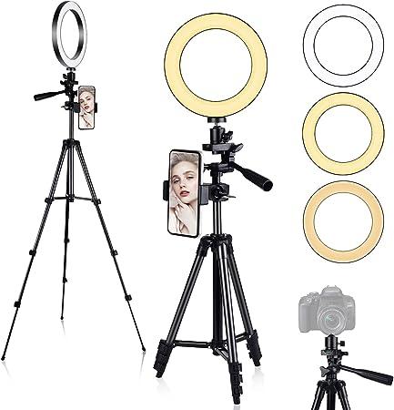 "Todo para el streamer: Anillo de Luz, [Nueva Versión] Diyife 6.3"" Tripode Luz Movil Aro de Luz para Movil, 3 Modos de Iluminación 11 Niveles de Brillo para Youtube Transmisión en Vivo Maquillaje Fotografía TikTok"