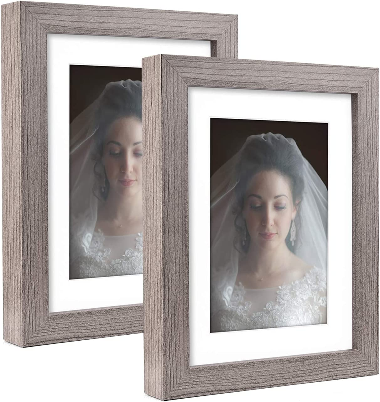 Metrekey 5x7 Picture Frame with Removable Mat for 3.5x5 Pictures Wood Grain 5x7 Photo Frames for Wall Decor and Tabletop Display Grey 2 Pack