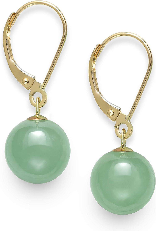 B0052V0UXE 14k Yellow Gold Natural Green Jade Drop Dangle Leverback Earrings 71YazIyFtQL