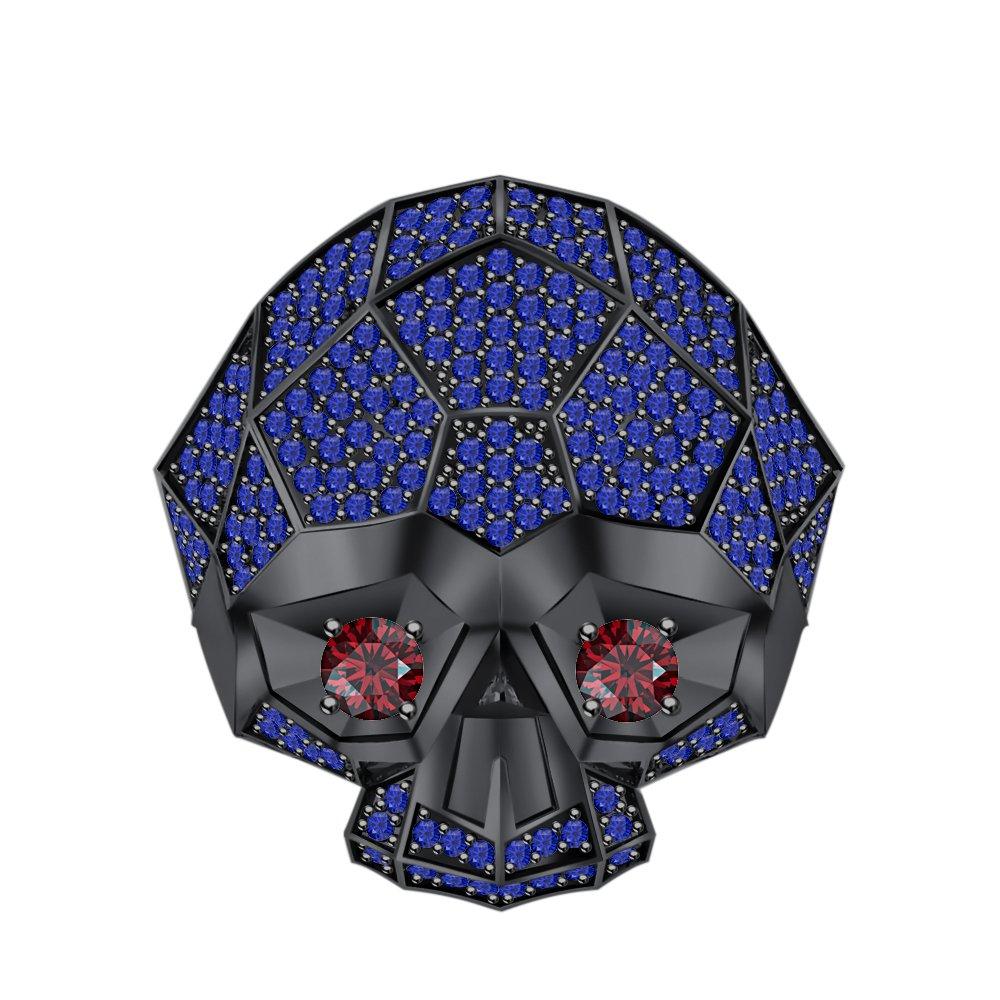 RUDRAFASHION Men's & Women's 14K Black Gold Plated 3.80 ctw Created Blue Sapphire & Garnet Half Jaw Skull Ring