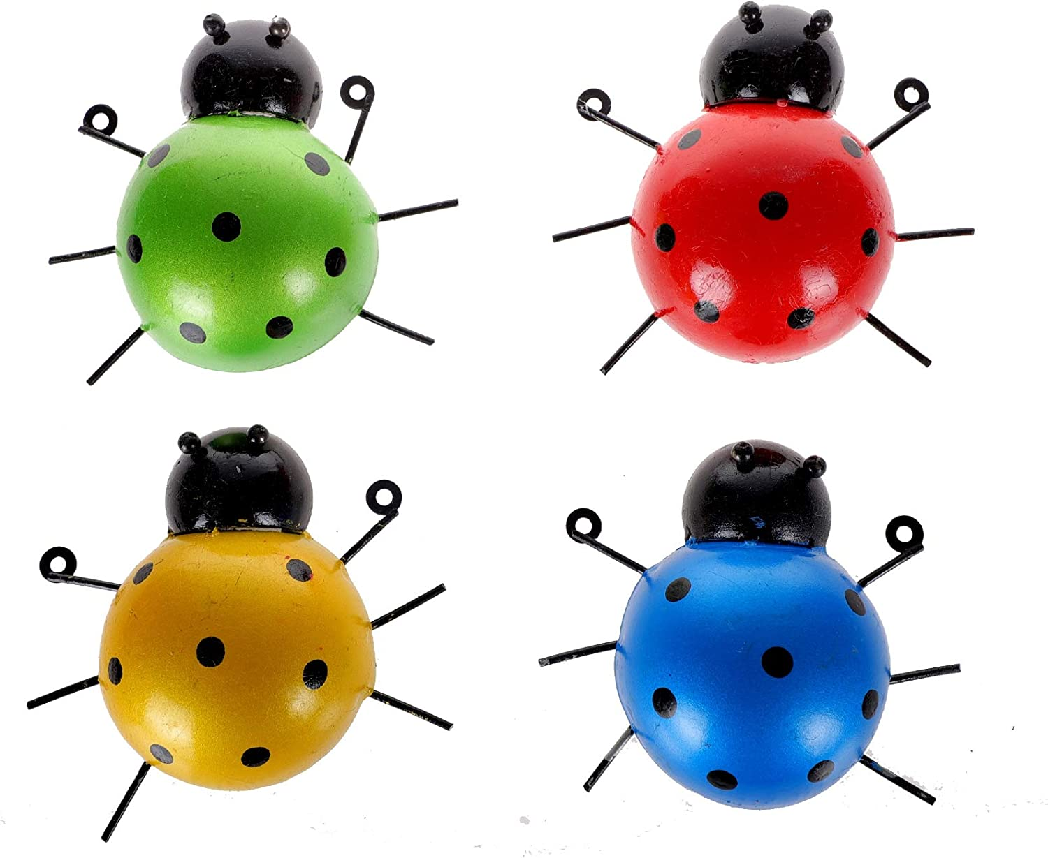 MorTime 4 Pack Metal Ladybug Garden Decorations, Colorful Decorative Hanging Ladybugs Wall Sculptures Outdoor Garden Yard Lawn Decor
