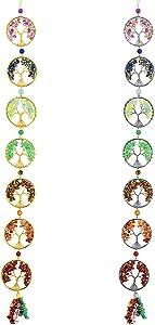 Yerliker 2 Pieces 7 Chakra Life Tree Hanging Ornament Reiki Healing Crystals Gemstones Wall Hanger Crystals Hanging Ornament for Home Window Office Decor Yoga Meditation, Sliver and Gold