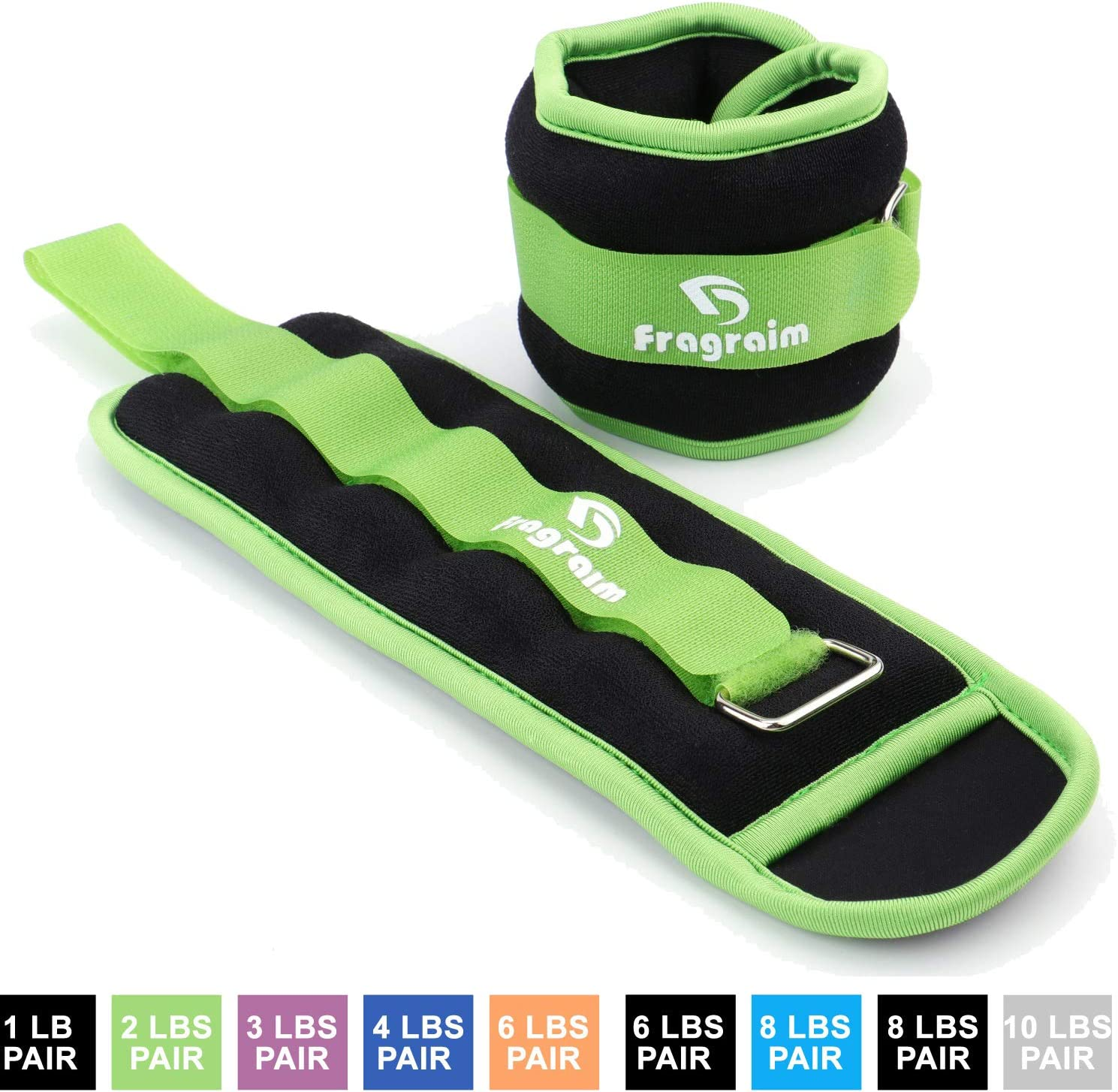 Fragraim Ankle Weights for Women, Men and Kids – Strength Training Wrist Leg Arm Weight Set with Adjustable Strap for Jogging, Gymnastics, Aerobics, Physical Therapy from 1lb to 10lbs Pair