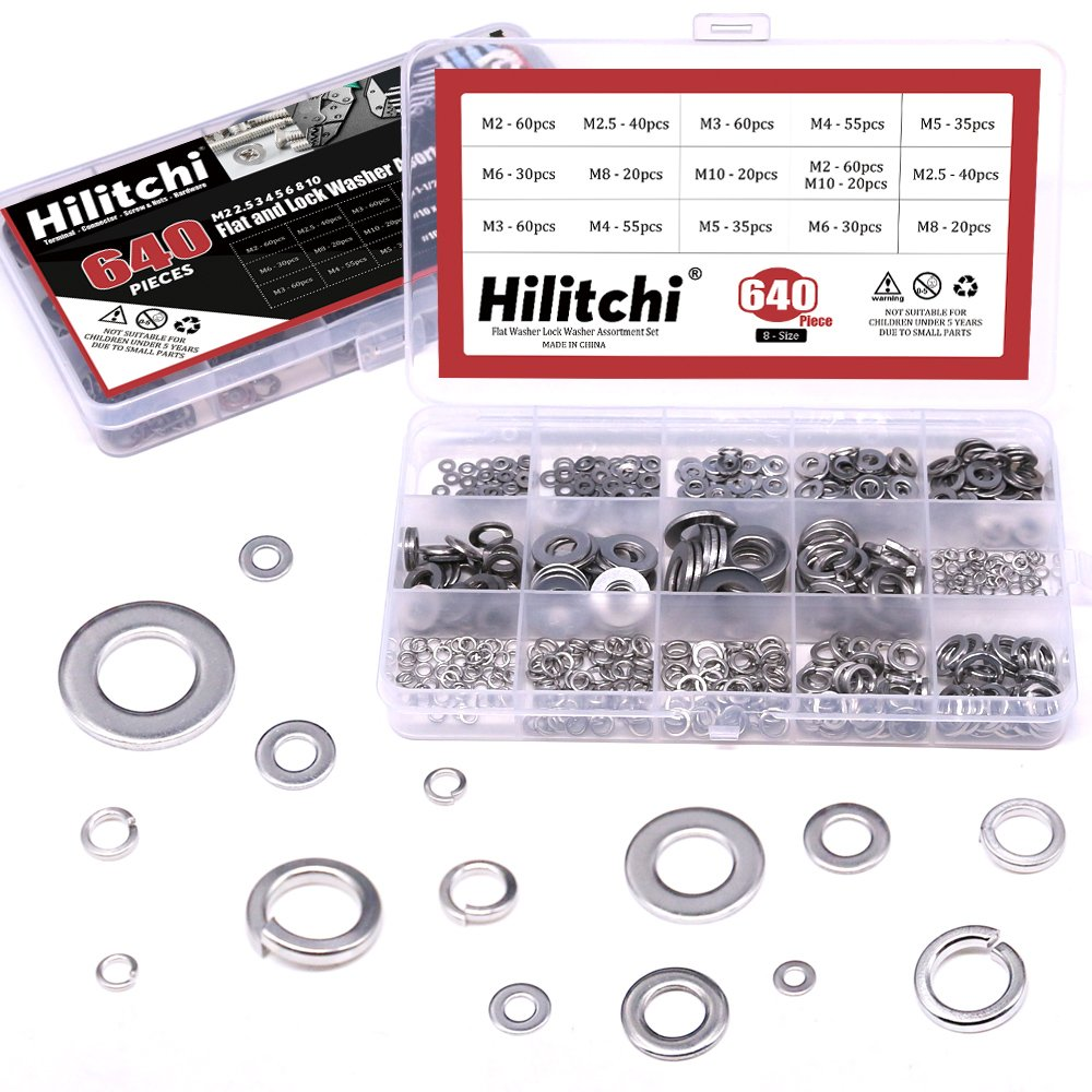 Hilitchi 640-Pcs [8-Size] 304 Stainless Steel Flat Washer and Lock Washer Assortment Set - Size Included: M2 M2.5 M3 M4 M5 M6 M8 M10
