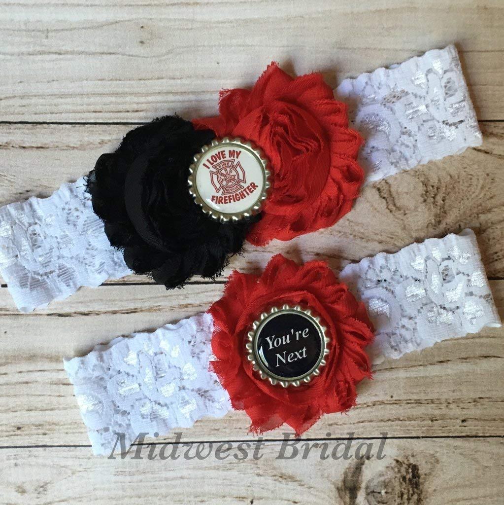 Fireman's Wife White lace Custom Handmade Wedding Garter Firefighter